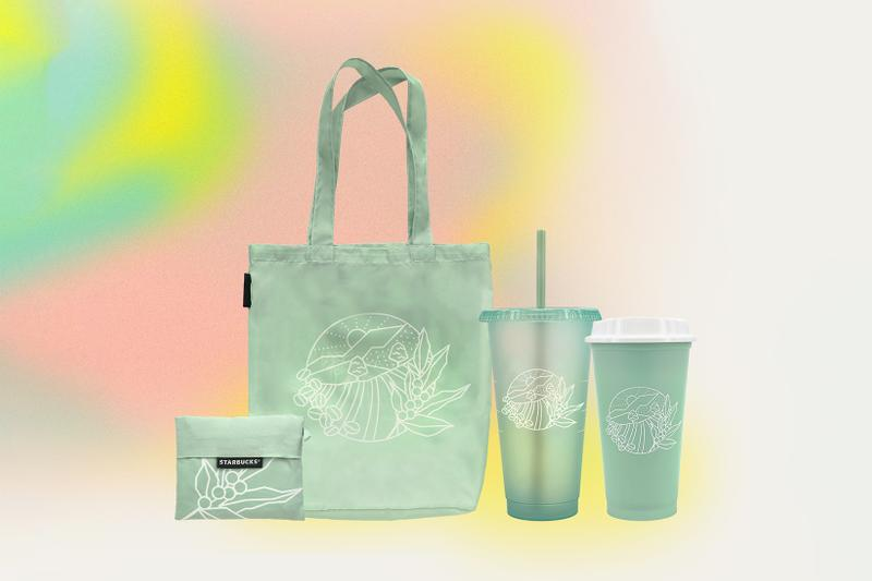 starbucks earth month merchandise tumblers glass water bottle cup sustainable reusable tote bag