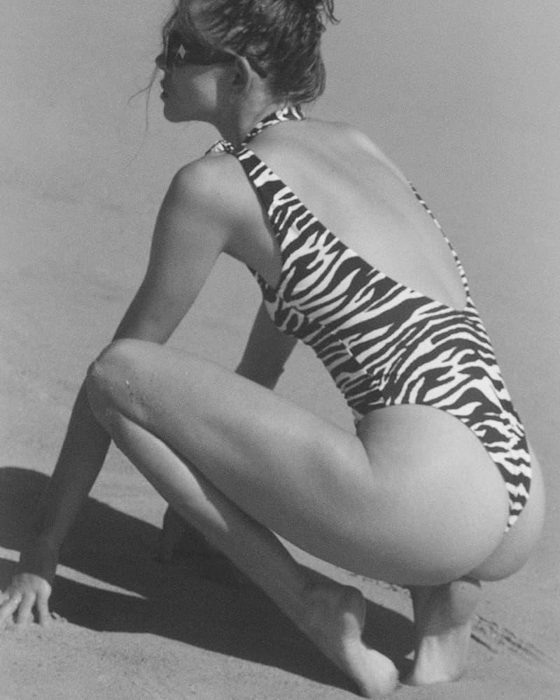The Attico Summer 2021 Beachwear Capsule Collection Lookbook State Of Nature Swimwear Purienne Zebra Print One Piece Swimsuit