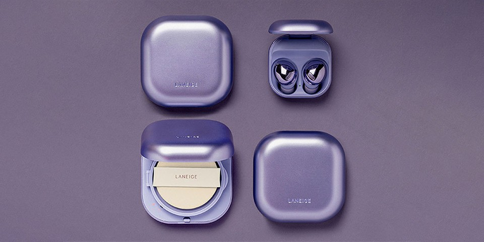 "Samsung x Laneige Dress Galaxy Buds Pro and Neo Cushion Foundation in ""Phantom Violet"""