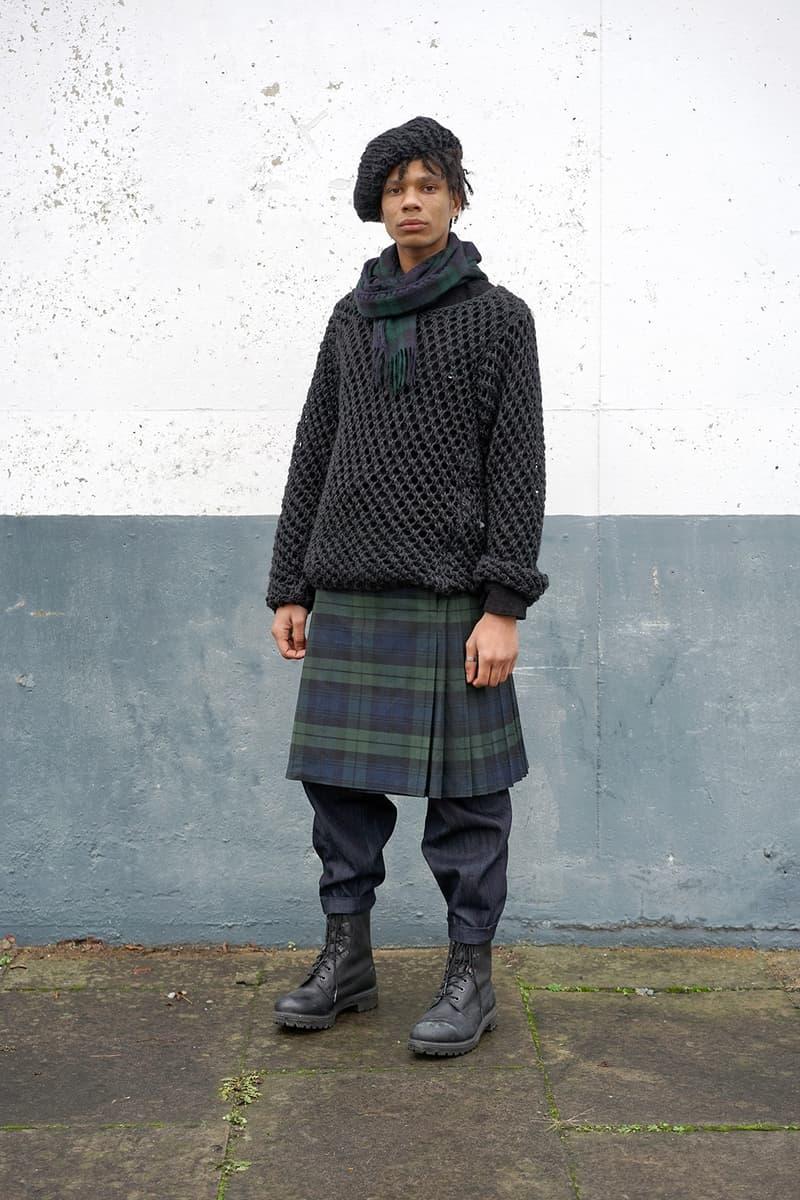 """伝統的なスコットランド産の素材を使用した Nicholas Daley 2017年秋冬コレクション """"Blackwatch"""" black blackwatch scottish kilt"""