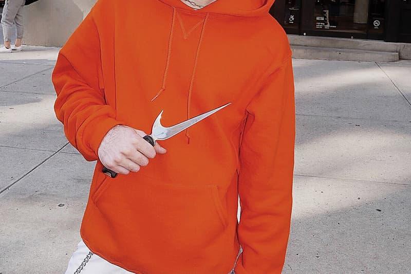 """大手企業のアイコニックなカンパニーロゴをアレンジした喧嘩道具 〈Nike〉のスウッシュはナイフに、「McDonald's」の""""M""""がメリケンに"""
