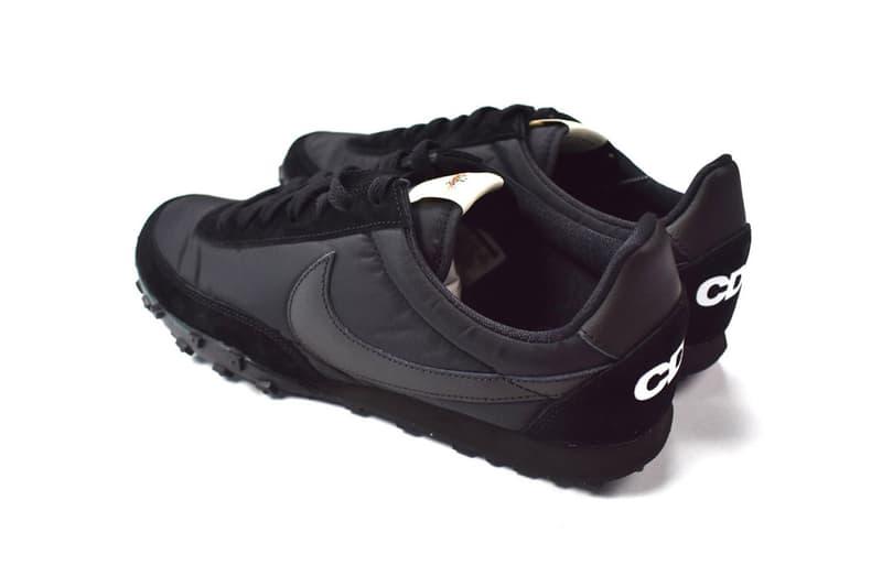 BLACK COMME des GARÇONS x Nike から漆黒の Waffle Racer がリリース 〈Nike〉のランニングカテゴリーが誇る伝統の一足がオールブラックになって登場
