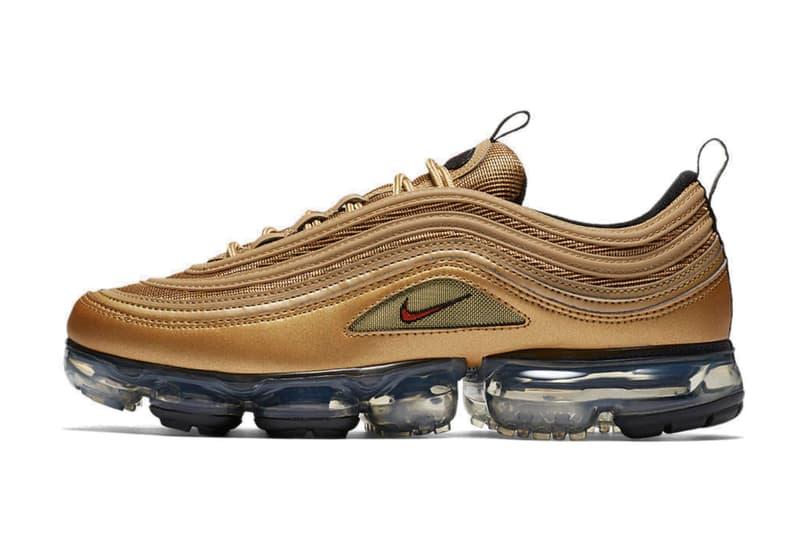 "Nike が2018年に Air VaporMax 97 ""Metallic Gold"" を発売か 〈Nike〉の2017年を象徴するAir Max 97とAir VaporMaxがマッシュアップ スニーカー エアマックス ヴェイパーマックス"