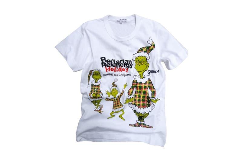 クリスマスを題材にした絵本『The Grinch』と COMME des GARÇONS によるコラボTシャツが登場 〈COMME des GARÇONS〉のテーマカラーを纏った可愛らしい Grinch の服装に注目