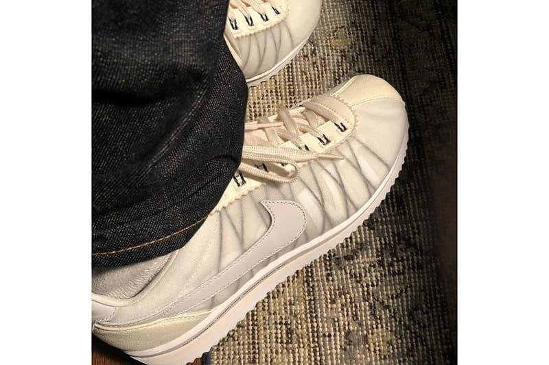 """藤原ヒロシが fragment design x Nike Cortez のティーザー画像を公開 シースルーのメッシュアッパーに覗く""""FRAGMENT""""のテキストグラフィックで名作に新たな風を SB Dunk Low Black Pigeon Air Force 1 Nike ナイキ fragment design フラグメント デザイン Kendrick Lamar ケンドリック・ラマー Instagram HYPEBEAST ハイプビースト"""