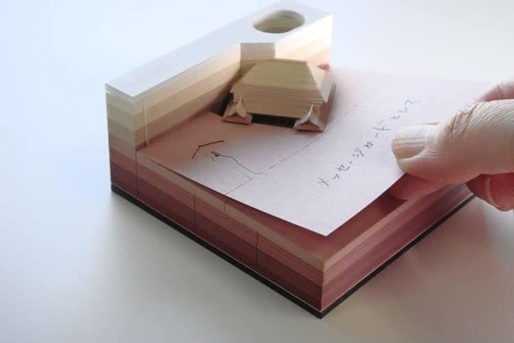 使うと徐々に清水寺が現れるアーティスティックすぎる立体メモブロックをチェック