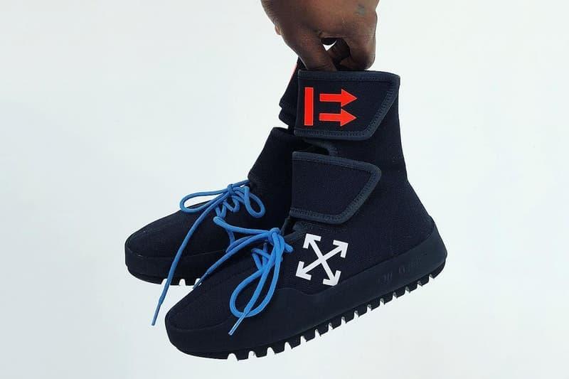 """ヴァージル・アブローがどこか見覚えのある Off-White™️ 最新フットウェア """"CST-001"""" を公開 何処と無くカニエ・ウェストと〈adidas Originals〉によるYEEZY BOOST 750を連想させるフォルムの1足が誕生 Virgil Abloh ヴァージル・アブロー Nike ナイキ コラボフットウェアAir Jordan 1""""White"""" パリヘッズ Off-White™️ インスタグラム オフホワイト Instagram Kayne West カニエ・ウェスト adidas Originals アディダス オリジナルス YEEZY BOOST 750 CST-001 ベルクロ仕様 ダブルストラップ ブルーのシューレース クロスアロー YEEZY Season 6 HYPEBEAST ハイプビースト"""