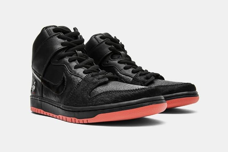 """ジェフ・ステイプルが Nike SB との新作コラボフットウェア Dunk High """"Black Pigeon"""" を公開 クラッキングレザーとポニーヘアを組み合わせた艶アッパーで玄人好みの1足に"""
