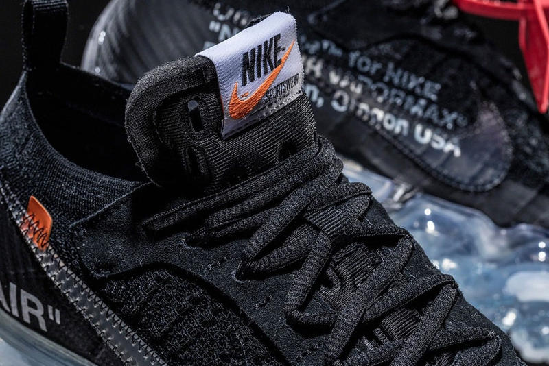 """ヴァージル・アブロー x Nike Air VaporMax Flyknit """"Black"""" のディテールに迫ったフォトセットが到着 3月30日(現地時間)にアメリカ本国での先行リリースを控える話題作を一足先にチェック Kim Jones キム・ジョーンズ Louis Vuitton ルイ・ヴィトン メンズウェアデザイナー Virgil Abloh ヴァージル・アブロー Nike ナイキ Air VaporMax Flyknit """"White"""" Air VaporMax Flyknit インダストリアルスタンプ ZIP TIEパーツ HYPEBEAST ハイプビースト"""