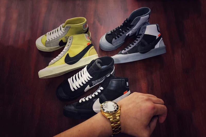"""ヴァージル・アブロー x Nike Blazer Mid の未発売カラー全3色のビジュアルが浮上 ヴァージル本人もブラックの存在を自ら確約 Virgil Abloh(ヴァージル・アブロー)と〈Nike(ナイキ)〉の共同プロジェクト""""The Ten""""は予想を遥かに上回るビッグバン級のバズを生み出し、終わりなき蜜月関係にまで発展したように思える。リークされた未発売モデルは数多。果たして、どこまでが実際に存在するのか、真実は知る由もないが、Blazer Midの新色は近い将来、確実にリリースされることになりそうだ。  @HUGOKICKZは、ブラック、グレー、ネオンイエローの全3色のBlazer MidをInstagramに投稿し、「今は非売品だけど、続報を待て」とコメント添え。また、Virgil本人がスケーターのHyun Kummer(ヒョン・クンマー)の写真に自らブラックの存在を確約するコメントを残し、ヘッズたちを騒然とさせた。  無論、正式な発売日に関しては〈Nike〉からのアナウンスを待つ必要があるが、ひとまずこちらから、過去にビジュアルが浮上した未発売モデルをおさらいしてみてはいかがだろうか。"""
