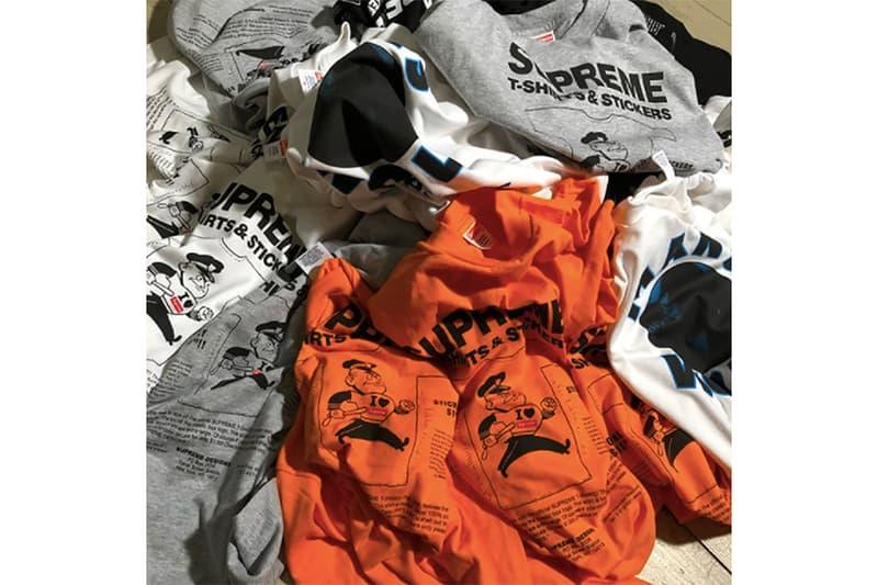 """原宿の古着屋 What'z up が再び Supreme のアーカイブTシャツをデッドストックの状態で販売 誤ってタグを縫い付けた2007年のリコール商品より""""T-Shirts & Stickers""""とジェームス・ブラウンの追悼Tシャツの2種類を入荷した模様"""