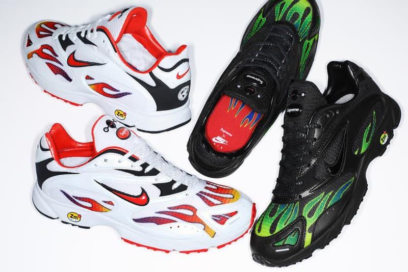 """Supreme x Nike Air Streak Spectrum Plus が #WEEK18 にリリース決定 かねてから噂されてきたフレイムパターンを纏う一足が遂に市場へと投下される 〈Supreme(シュプリーム)〉の2018年春夏コレクションも残すところあとわずか。だが、今週末の#WEEK18では遂に、かねてからリリースが噂されてきた〈Nike(ナイキ)〉とのコラボスニーカーが姿を現すようだ。Air Streak Spectrum Plusと題した本作は、フレイムパターンを採用したメッシュアッパーが最大の特徴で、PhylonとZoom Airがソールユニットを構築。また、シュータンには〈Nike〉と〈Supreme〉のパッチを縦に並べて配置したほか、ヒールには世界地図のリフレクトロゴがあしらわれている。  全2色展開となるAir Streak Spectrum Plusは、6月14日(木)に国外リリースを終えたのち、6月16日(土)から〈Supreme〉の国内直営店にて販売。   〈Sup〉のファンは、""""CFDA Fashion Awards(CFDA ファッションアワード)""""におけるJames Jebbia(ジェームス・ジェビア)の受賞映像もチェックしてみてはいかがだろうか? HYPEBEAST"""