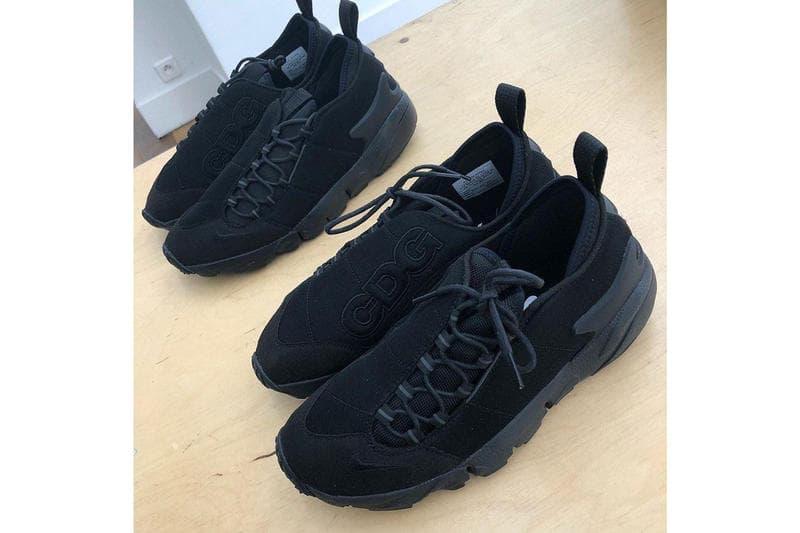 """BLACK COMME des GARÇONS から Nike Footscape のコラボモデルが登場か 90年代中期に登場したエポックメイキングに""""CDG""""ロゴを配したファン垂涎の一足 2009年の設立以降、手頃な価格設定ながら川久保玲のDNAを感じさせるアイテム展開で人気を博す〈BLACK COMME des GARÇONS(ブラック コム デギ ャルソン)〉より、1996年に誕生した〈Nike(ナイキ)〉のエポックメイキング、Air Footscape NMのコラボモデルがリリースされるかもしれない。甲の圧迫を軽減するべく、シューレースをアッパーサイドに配置し、日本人の足型にあった幅広のシルエットを特徴とするFootscape。パリファッションウィーク期間中、バイヤー向けに行われた展示会でお披露目された本作は、そのボリュームのあるシルエットをオールブラックで覆い尽くし、アッパーには同色ながらも立体感のある""""CDG""""ロゴがセットされている。  無論、発売日や取扱店舗などの詳細は明かされていないので、ヘッズ諸君はこのことを頭の片隅に置きながら、ブランドからのアップデートを待とう。  〈CDG〉x〈Nike〉のコラボスニーカーと言えば、〈COMME des GARÇONS Homme Plus〉の2019年春夏コレクションでお披露目されたAir Presto Foot Tentのアップデートモデルのビジュアルもお見逃しなく。"""