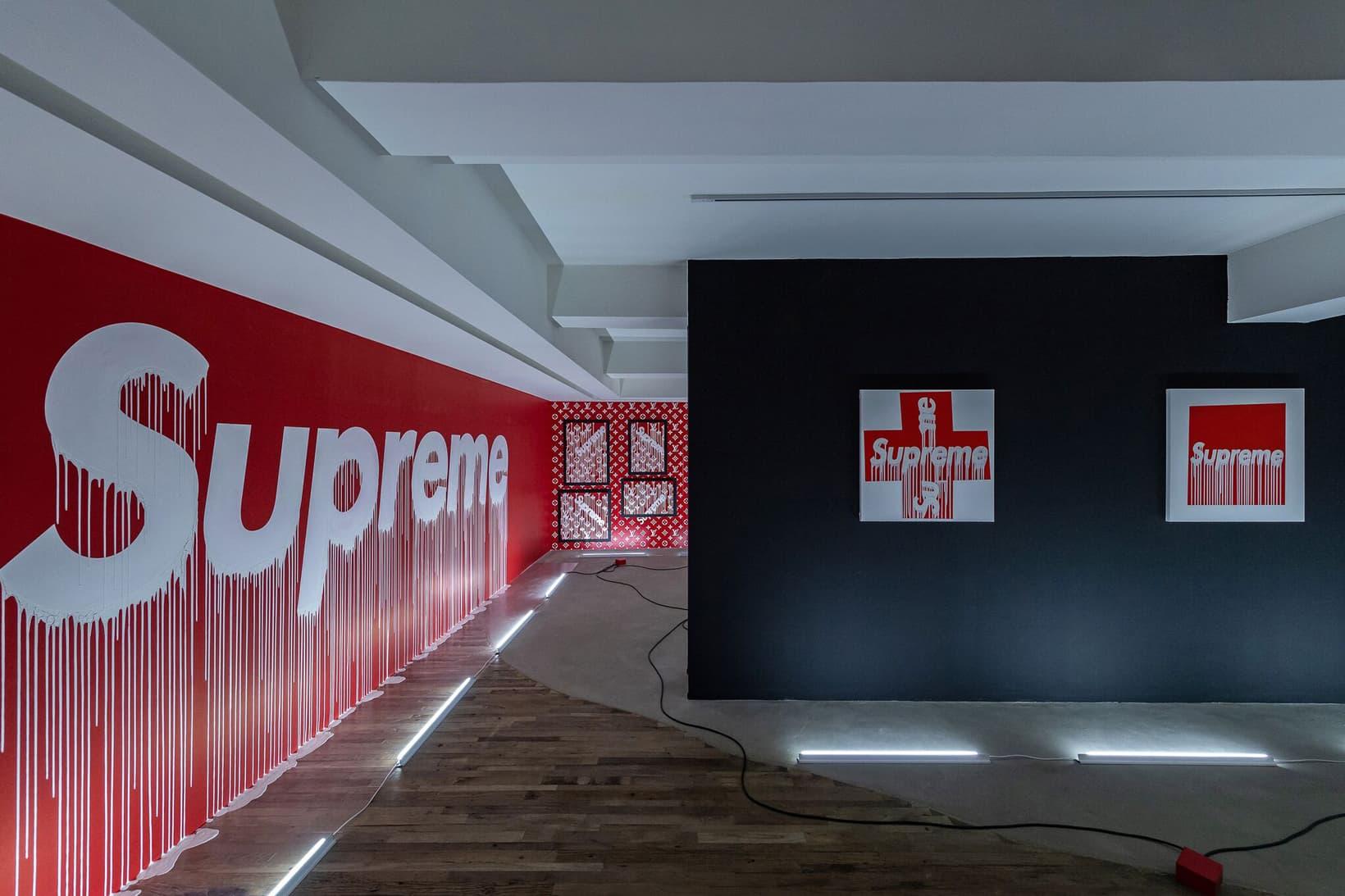 謎に満ちた芸術家 Zevs が Supreme と Louis Vuitton を題材にした個展を開催