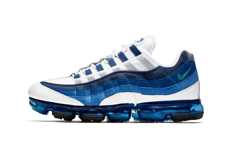 """Nike が Air VaporMax 95 にもうひとつのOGカラー """"Slate"""" を追加  Air Max 95のセカンドカラー、通称""""ブルーグラデ""""が注目のマッシュアップモデルから登場 〈Nike(ナイキ)〉が8月16日(木)付けでリリースしたAir VaporMax 95 """"Neon""""、改め""""It's Electric""""はお察しのとおり、すでに全サイズ完売。だが、Swoosh陣営はその展開をさらに拡大するべく、もうひとつのOGカラーとして知られる""""Slate""""のリリースを計画しているようだ。  """"Slate""""はAM95のセカンドカラーとして知られ、スニーカーヘッズたちの間では""""ブルーグラデ""""とも呼ばれるカラーウェイ。日本のスニーカーブームの火付け役であるAM95の人体構造に基づいたアッパーに、Air VaporMaxのAirソールを搭載したマッシュアップモデルからの登場となれば、これまた激しい争奪戦が繰り広げられることになるのではないだろうか。  Air VaporMax 95 """"Slate""""は9月6日(木)の発売が有力視されているが、確定情報は『SNKRS』や有力アカウントのアップデートを待とう。  あわせて、Reactシリーズの系譜を継ぐ初見モデル、React Element 55のビジュアルもご確認を。"""