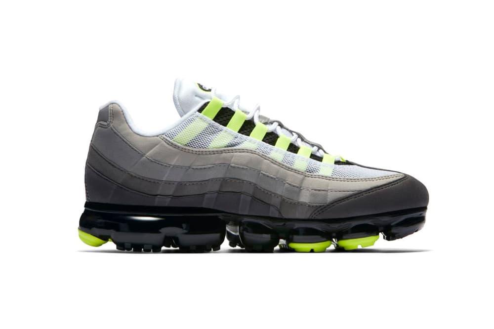 """Nike が Air VaporMax 95 """"Neon"""" の国内発売に関する公式情報を解禁 スニーカーシーンに絶え間なくトピックを提供する〈Nike(ナイキ)〉と言えば、Virgil Abloh(ヴァージル・アブロー)や〈COMME des GARÇONS(コム デ ギャルソン )〉など、即完必至のコラボモデルなどに注目が集まりがちだが、Air Max 95とAir VaporMaxのマッシュアップモデル、Air VaporMax 95は間違いなくそれらに匹敵するほど入手困難な一足になるだろう。  このリリースが待望されているモデルについて、遂に『SNKRS』が情報を更新。真のOGカラーとして今なお絶大な人気を誇る""""Neon""""を纏った一足は""""It's' Electric""""と名付けられ、8月16日(木)午前9時より発売開始、価格は24,840円(税込)となるようだ。  あわせて、1980年代後半から1990年代初頭を象徴するAir Jordan 1、Air Jordan 3、Air Alpha Force Lowの3足を掛け合わせた〈Just Don(ジャスト ドン)〉x〈Jordan Brand(ジョーダン ブランド)〉によるAir Jordan Legacy 312もお買い逃しのないように。"""