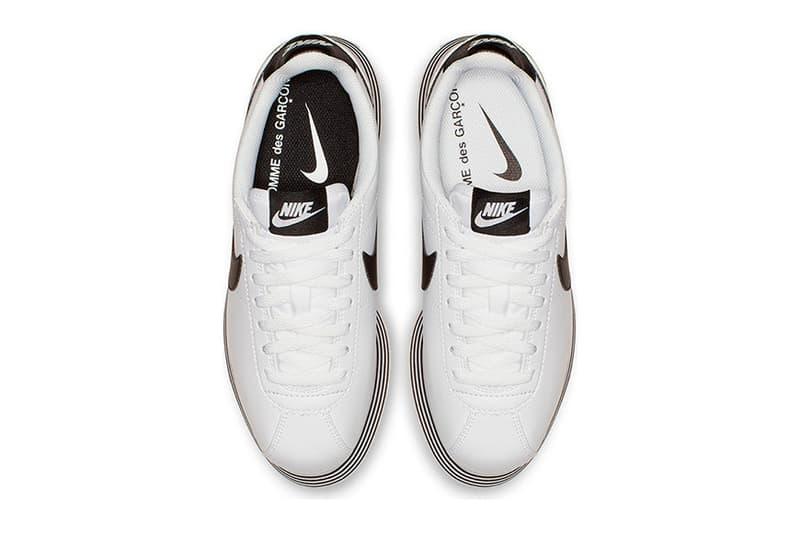 COMME des GARÇONS x Nike Cortez Platform Release CGD swoosh rei kawakubo Sneaker sole HYPEBEAST Black White
