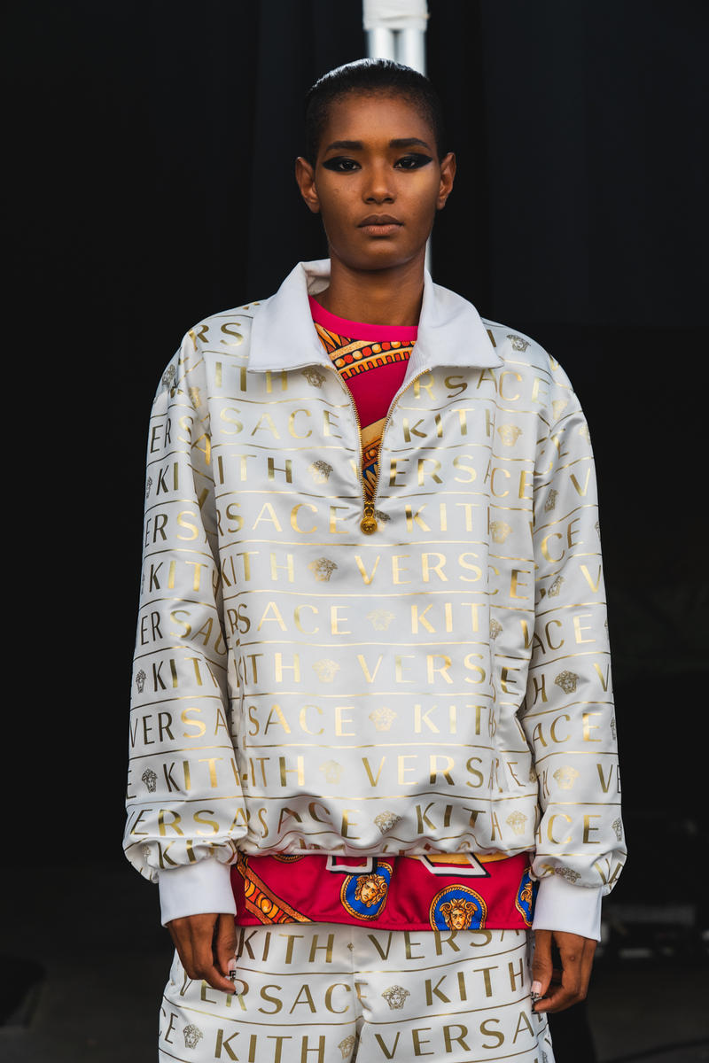 kith park fall winter 2018 runway show collection backstage closer look versace sneakers jacket hat shirt branding logo ronnie fieg mastermind Japan Advisory Board Crystals Converse Vans Versace  Greg Lauren Tommy Hilfiger UGG Columbia NFW