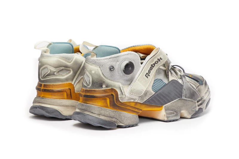 Vetements Reebok Genetically Modified Trainer matchesfashion.com release info white yellow blue collaborations demna gvasalia HYPEBEAST