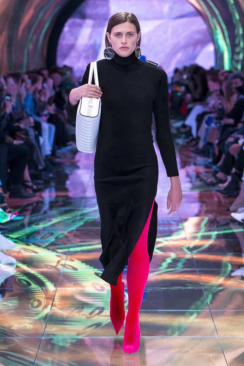 balenciaga runway spring 2019 collection paris fashion week men women demna gvasalia suit shoulder sneaker track dress logo HYPEBEAST