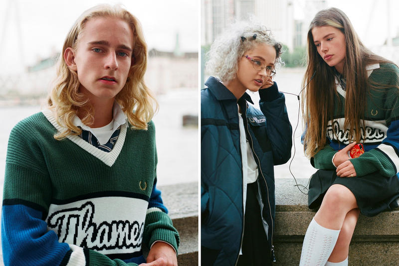 Thames Fred Perry Fall Winter 2018 Capsule Collab Collaborative Fleece Bomber Jacket Track Pants Argyle Cardigan Quilted Waxed Colourblock Jumper Zip Neck Sweatshirt Long Sleeve Ringer T shirt Fred Perry が ブロンディ・マッコイ 手がける Thames との第3弾目コラボコレクションを発表