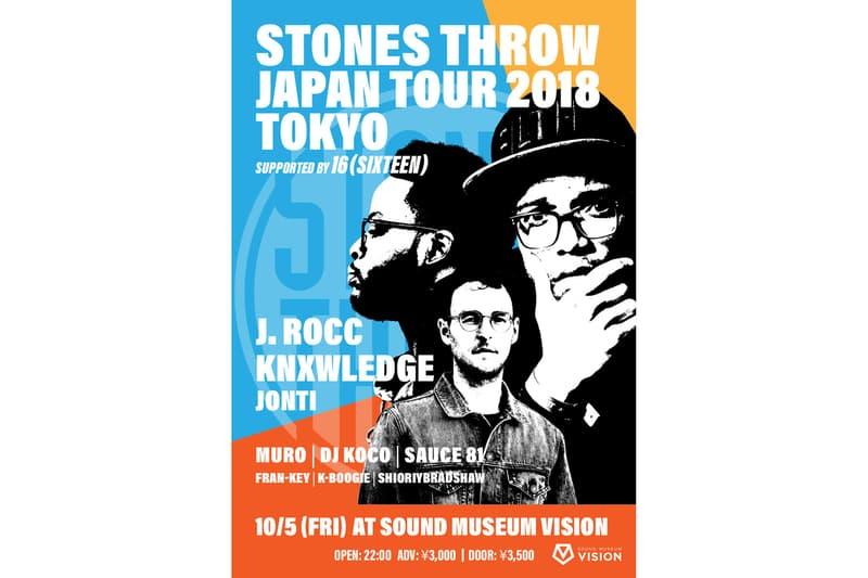Stones Throw の2018年ジャパンツアー第2弾がスペシャルなラインナップで開催決定 ストーン スロー ストーンズスロー HYPEBEAST ハイプビースト 10月5日(金)夜に渋谷『SOUND MUSEUM VISION』で開催される「Stones Throw Japan Tour 2018 Tokyo」には、ターンテーブリスト集団BEAT JUNKIESを立ち上げ、ダイナミックかつファンキーなパフォーマンスで世界中に熱狂的なファンを持つ南カリフォルニアが生んだレジェンドDJの J.Rocc J・ロック 、そして Anderson .Paak アンダーソン・パーク とのスペシャルユニット NxWorries ノーウォーリーズ を結成しており Kendrick Lamar ケンドリック・ラマー や Joey Bada$$ ジョーイ・バッドアス など数々の楽曲のプロデュースも手がける現在のLAを代表するビートメーカー Knxwledge ノレッジ も参画。さらにサイケデリックでメロウな最新作 Tokorats を去年発表したオーストラリアからの気鋭プロデューサー マルチプレイヤーの Jonti ジョンティ も東京公演のみ追加決定した。
