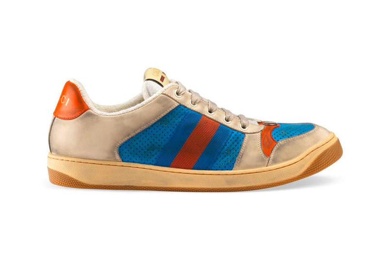 Gucci グッチ ヴィンテージ加工 新作 スニーカー Distressed Gucci Mens GG Canvas Sneakers leather price Red Green Monogram Blue Orange Info Release DateHYPEBEAST ハイプビースト