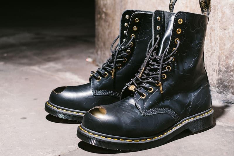 エイプ ベイプ ドクターマーチン ブーツ コラボブーツ シューズ BAPE x Dr. Martens Steel Toe Boots Launch Event lookbook green black leather 10-eye and 3-eye boots