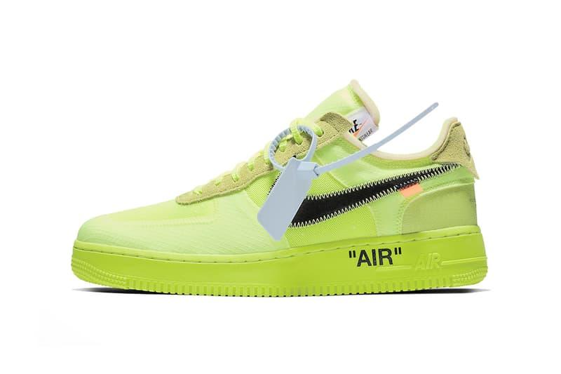 """オフホワイト ナイキ エア フォース 1  Off-White™ x Nike より2018年を締めくくる Air Force 1 """"Volt"""" の公式ビジュアルが解禁 ハイプビースト hypebeast"""