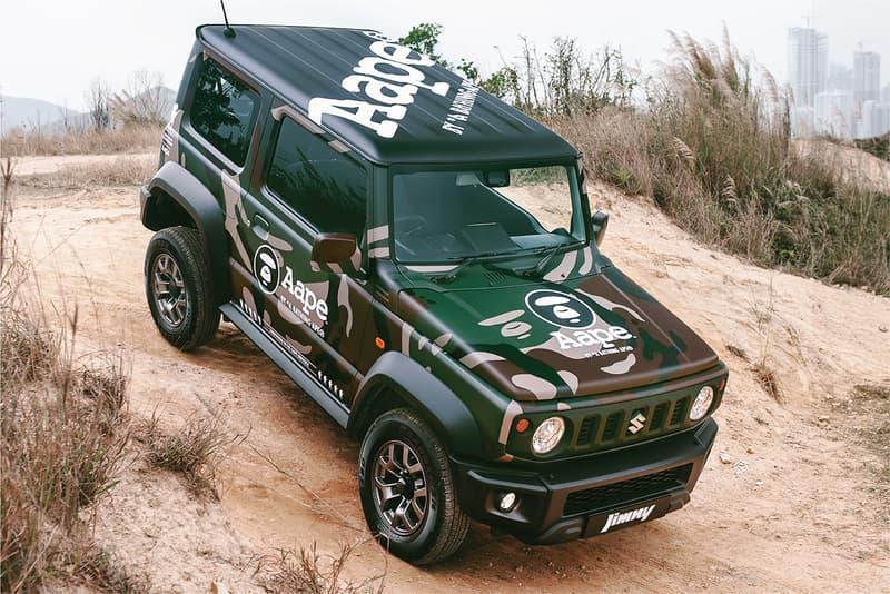 ジムニー スズキ エイプ ベイプ カモ柄 AAPE Island Motors Suzuki Jimny TShirt camouflage wrap collaboration scarf branding logo bape hong kong bathing ape green towel