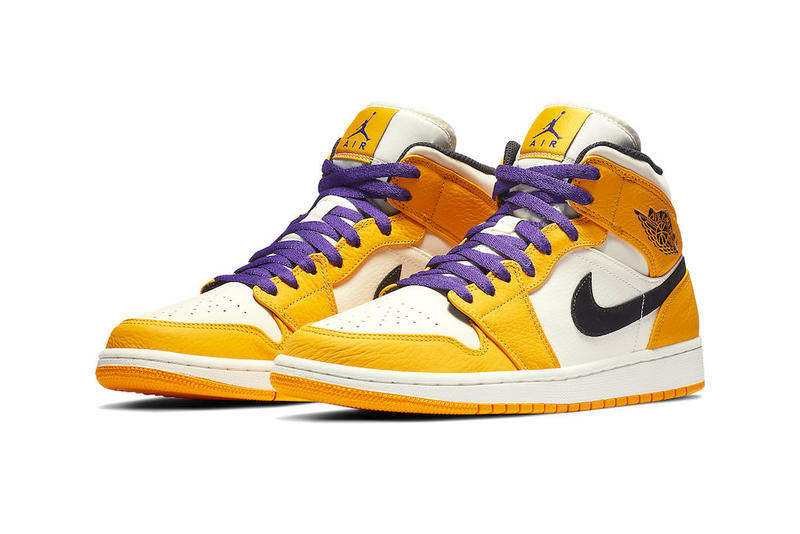 エアジョーダン 1 レイカーズ ナイキ ロサンゼルス Air Jordan 1 Mid Lakers NBA スニーカー コービー・ブライアント シャック レブロン・ジェームズ