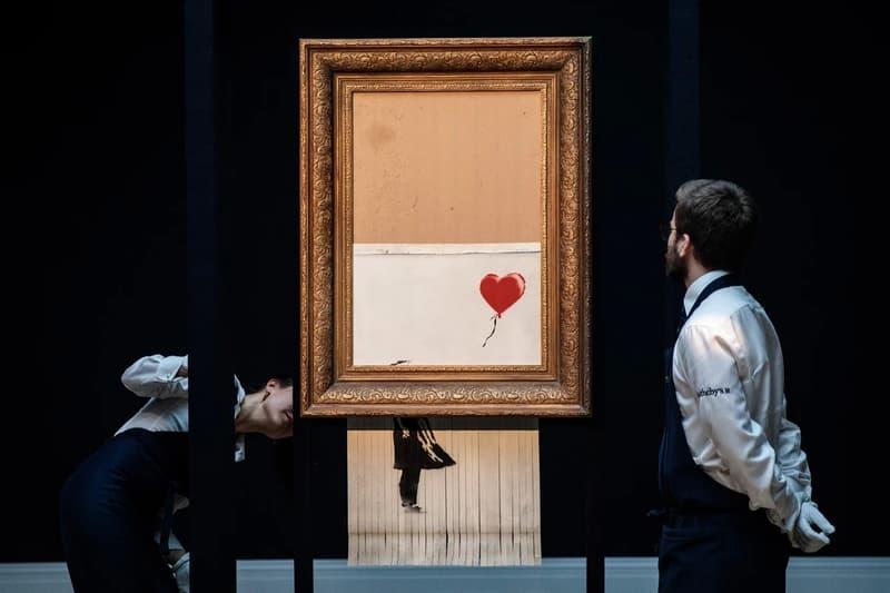 バンクシー 愛はごみ箱の中に 風船と少女 シュレッダー オークション 落札価格 展示 アート Banksy