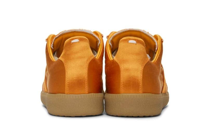 Maison Margiela Launches Three New Satin Replica Sneakers metallic orange light turquoise blue triple black images drop release date prices ssense footwear