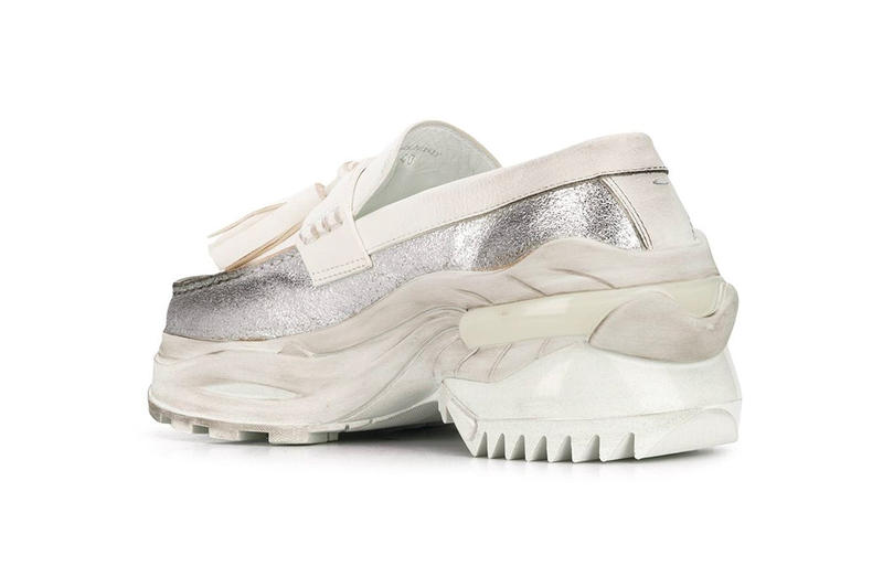 メゾン マルジェラ ローファー Maison Margiela White/Silver Ridged-Sole Loafers  farfetch S37WR0125P2414 rubber leather chunky sneaker trend sneaker release info pricing stockist