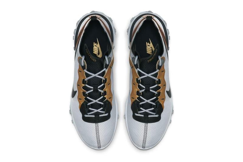 """ナイキ リアクトエレメント Nike React Element 55 """"Metallic Gold"""" Release sneakers silver black swoosh"""