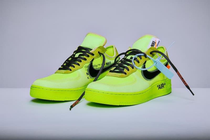 """オフホワイト x ナイキ エアフォース 1  Off-White™️ x Nike Air Force 1 """"Volt"""" & """"Black"""" の再販が決定"""