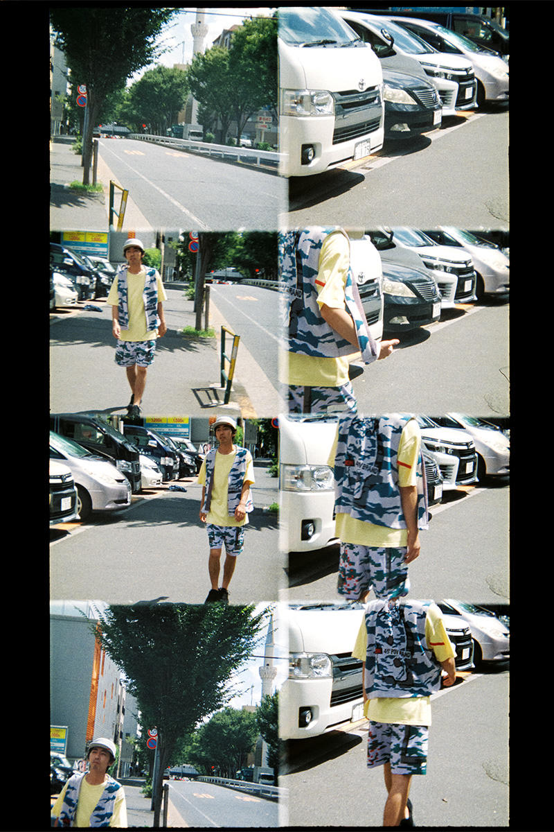 フィンガリン ルックブック PHINGERIN Spring/Summer 2019 Lookbook 柄本時生  camouflage vest Japan accessories sweat sweatshirt sweatpants trousers jacket outerwear baghead hats red pants tee tshirt silk tang suit jacket bomber