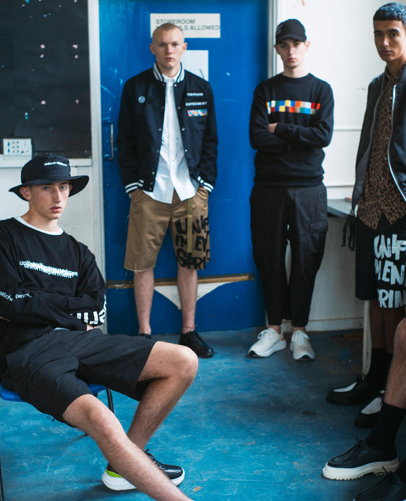 ユニフォーム エクスペリメント オンライン ソフネット オンライン アウター シャツ uniform experiment Spring/Summer 2019 Lookbook collection Japanese streetwear bomber suit graphic crewneck t-shirt tee trousers shorts