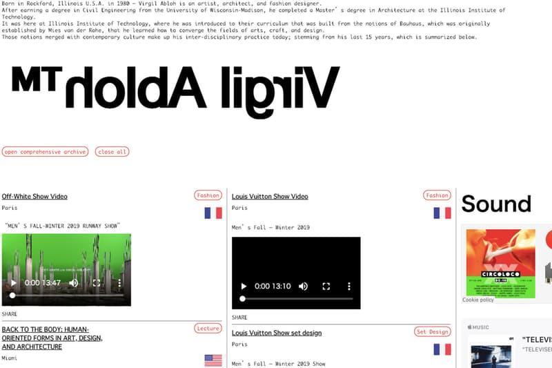 ヴァージル・アブロー virgil abloh が自身の携わったプロジェクトを完全網羅した公式 WEB サイトをオープン
