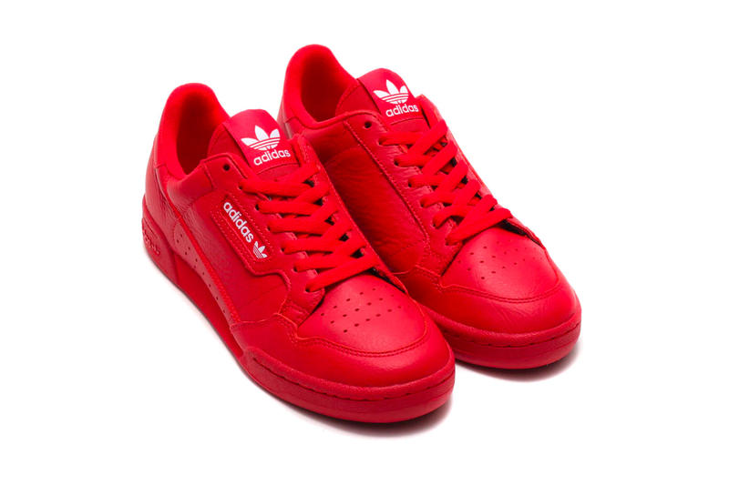 "アディダス アトモス スニーカー レッド adidas Contintental 80 ""Scarlet"" atmos Exclusive release info drop price stockist february 23 $80 leather red three stripes 3 treefoil"