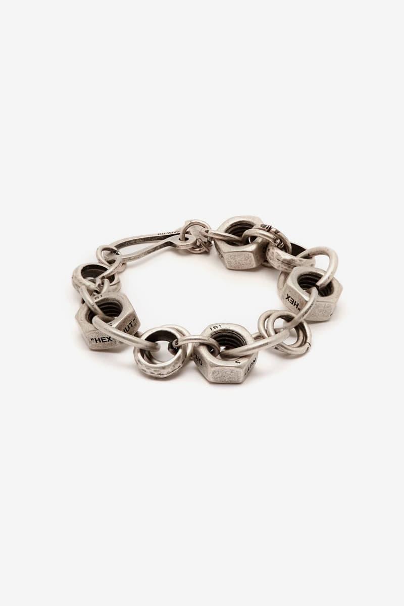 オフホワイト ヴァージルアブロー コレクション Off White Spring Summer 2019 Industrial Lifesaver necklace Hex Nut bracelet Utility silver-tone ring Jewelry Release silver