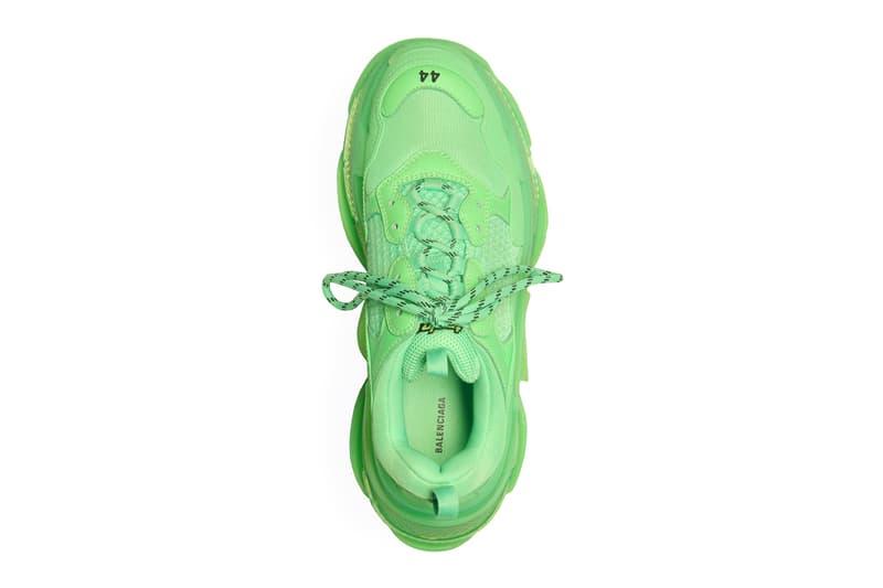 """バレンシアガ トリプルエス ネオングリーン スニーカー Balenciaga Triple S """"Neon Green"""" Release Info available now stockist web store 541624W09OL3801 Triple S in neon green leather, double foam and mesh translucent sole"""