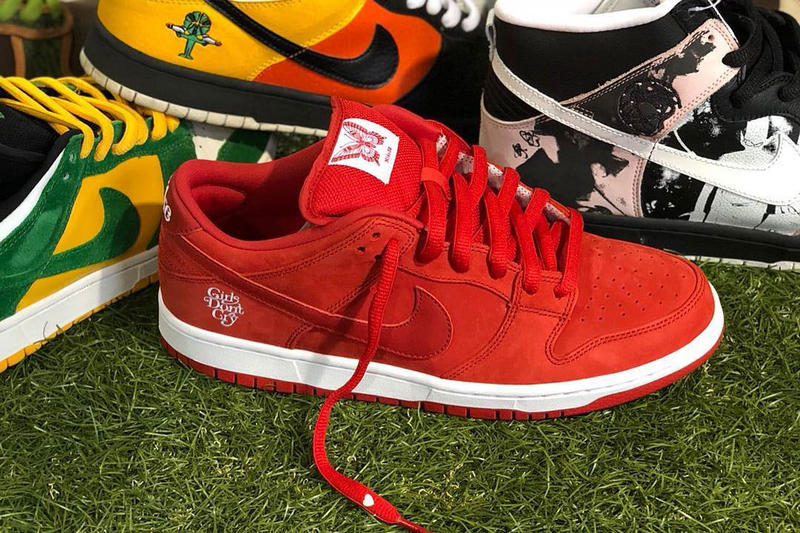 ガールズドントクライ ナイキ ダンク Girls Don't Cry Nike SB Dunk Low VERDY ヴェルディ コラボレーション スケート スケーター Skate Video teaser february 9 2019 release date info buy red colorway skating on foot