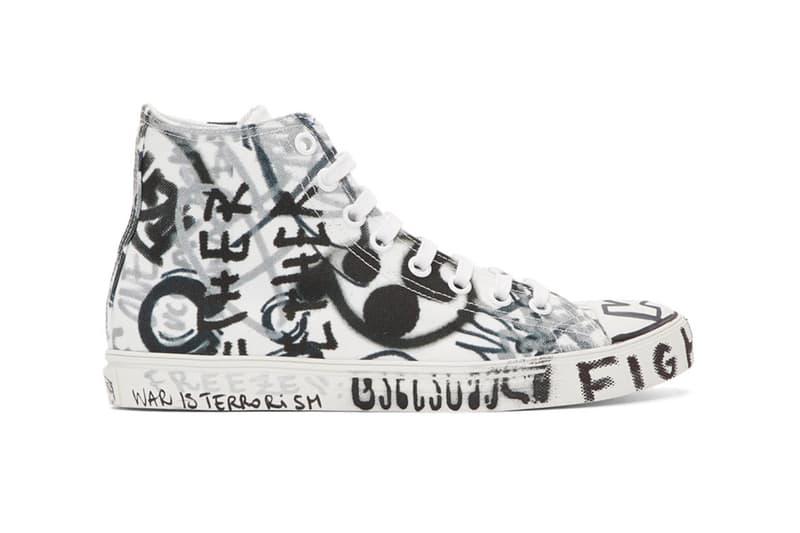 """ヴェトモン デムナ Vetements Georgian Graffiti Low & High-Top Sneakers made in Italy white black """"fuck war"""" """"war is terrorism"""" """"just say no"""""""