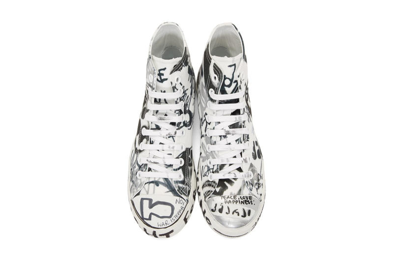"ヴェトモン デムナ Vetements Georgian Graffiti Low & High-Top Sneakers made in Italy white black ""fuck war"" ""war is terrorism"" ""just say no"""