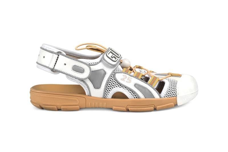 グッチ メンズ レザー ハイブリッド サンダル Gucci Mens Leather Mesh Sandal Hybrid Sneaker Chunky Sole Unit Slingback
