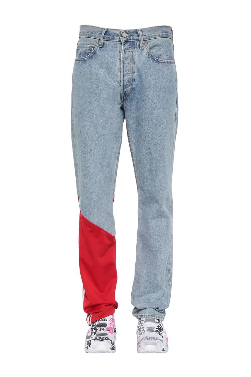ヴェトモン x リーバイス Vetements x Levis よりデニム地にトラックパンツをドッキングさせた異色のジーンズが登場 Vetements Jersey Detail Denim Jeans Release Washed Red LUISAVIAROMA Demna Gvasalia Levis Track Pants