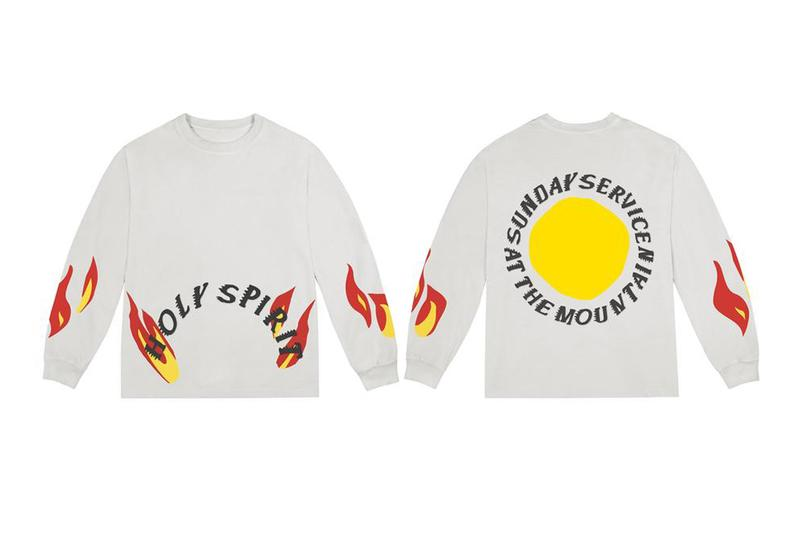 Buy Kanye west YEEZY Sunday Service Coachella Merch clothing apparel holy spirit on the mountatintop trust god jesus walks church socks crewneck sweatpants t shirt tee long sleeve fire sun poncho bone oxen tie dye black white