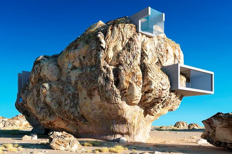 建築 デザイン アイディア 発想 3D コンセプト House Inside a Rock Amey Kandalgaonkar