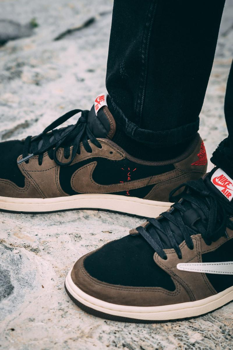 トラヴィス・スコット x ナイキによるエアジョーダン 1 Travis Scott x Air Jordan 1 Low On-Feet Closer Look Photos imagery sneaker colorway CQ4277-001 aj1